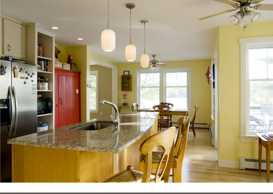 Kitchen, Maine Architect, Island kitchen, Red cabinet, Granite counters