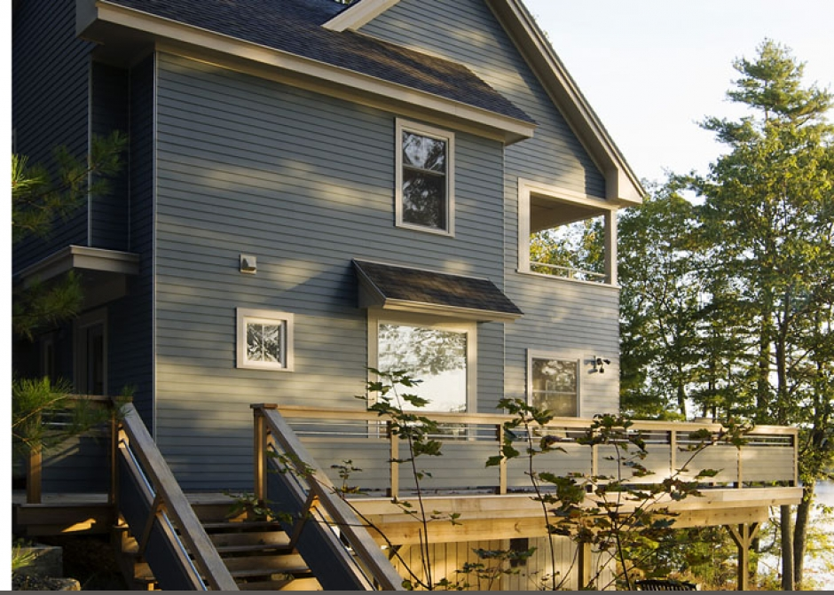 waterfront homes, Maine Architect, Deck, Blue Siding
