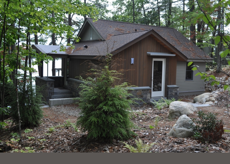 Red cedar siding, stone, American Granite, Maine Architect, Wood stain