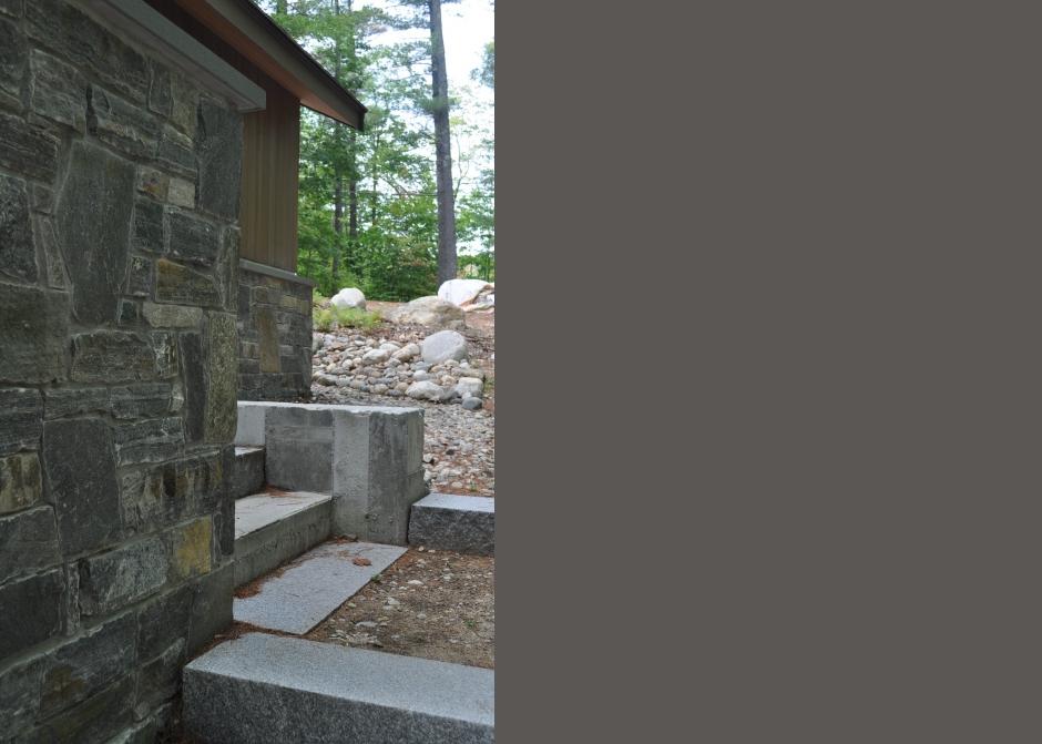 Stone wall, granite steps, Maine Architect