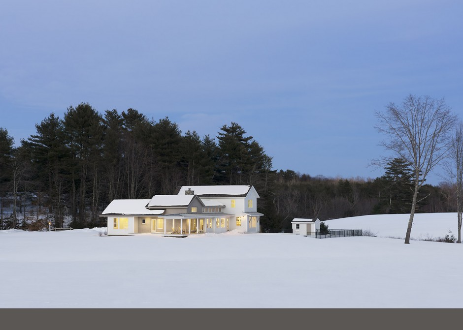 Modern Farmhouse, cedar shingles, white siding, clapboards, Maine Architect, winter scene