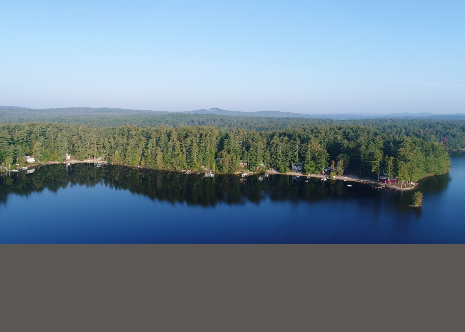 Mousam Lake by Drone, Cottage Renovation, Maine architect, waterfront cottage