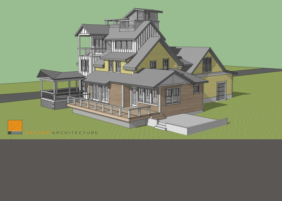 Design Model, Seaside, Maine Architect, Renovation, Tower, Rendering, Sketchup