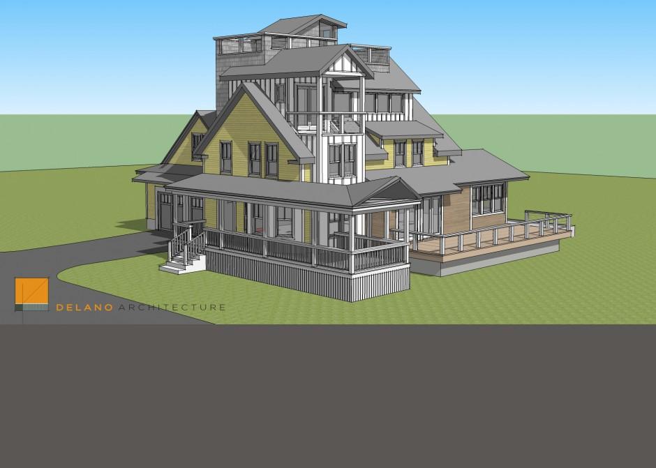Design Model, Seaside, Maine Architect, Renovation, Tower, Rendering, Sketchup