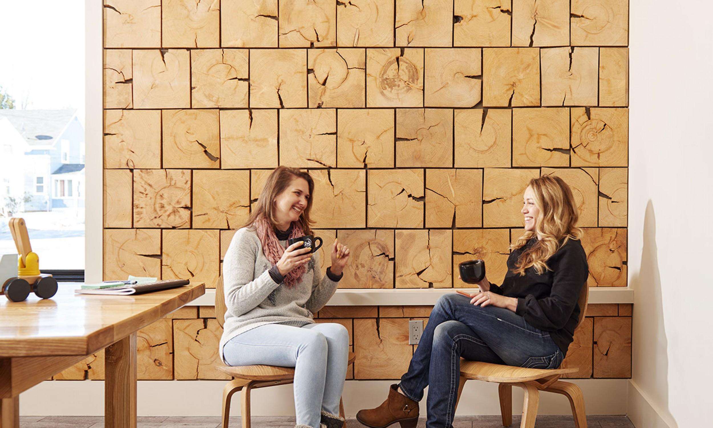 Wood wall finish, maine architect, wood tiles, interior design