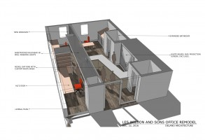 Les Wilson Office Remodel, Sketchup Rendering, Maine Architect