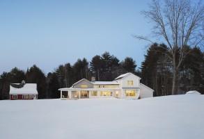 Modern Farmhouse, Maine Architect, white clapboards