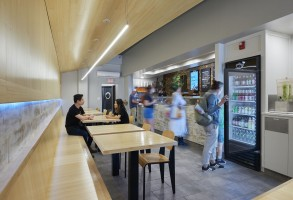 Seating, bamboo finishes, LED light strip, Maine Architect, Restaurant design