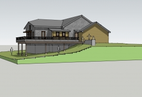 Waterfront home, Thomas Pond, Design Rendering, Maine Architect