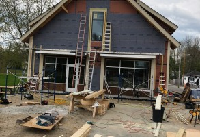 Construction Administration, Roots Cafe, Kebony Wood, Maine Architect