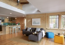 Nickel Gap pine, Cathedral Ceiling, White wash stain, Maine Architect