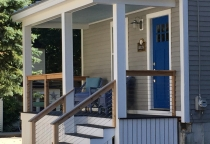 Front Porch, Cable Railing, Cedar cap, Maine Architect
