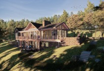 Maine Architecture, Waterfront Home, Lake Living, Stone Walls, Waterfront Deck