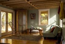 Hemlock ceiling, historic renovation, Maine Architect, plaster walls, wood ceiling