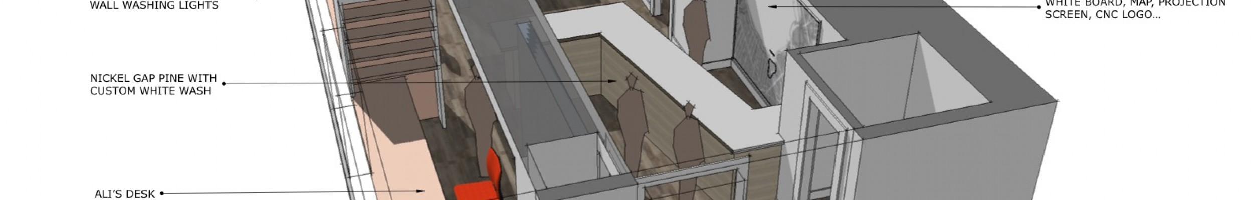 Design rendering, Office space, Maine Architect, Interior fitup, Sketchup rendering