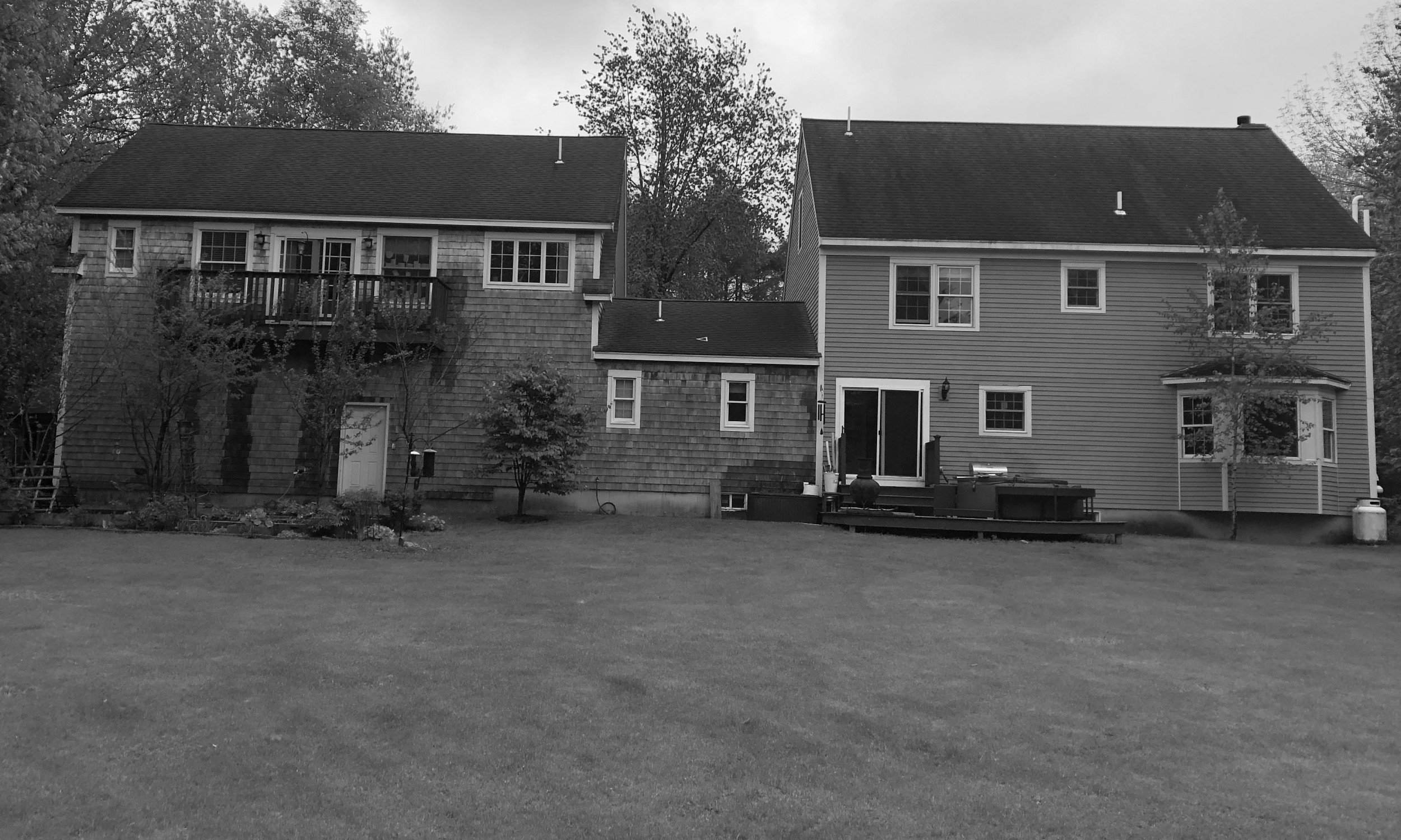 Rear lawn, existing house, Falmouth House