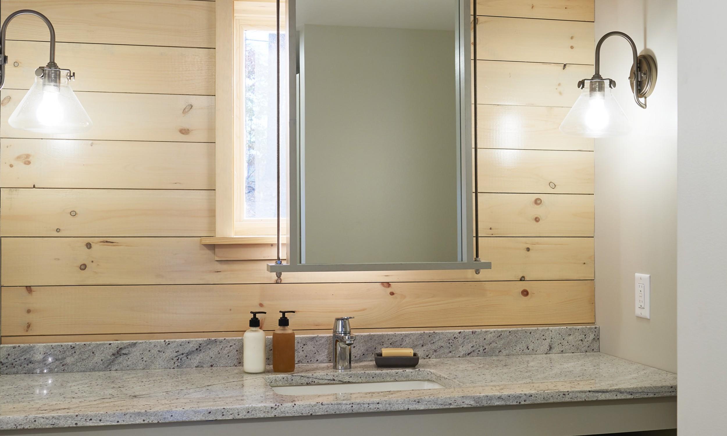 Custom designed mirror, Nickel Gap Pine, Granite counter