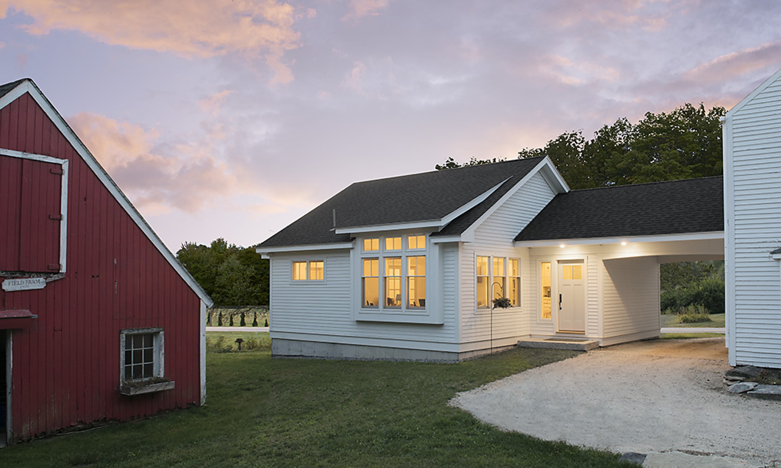 Apartment exterior, Sunset, South Elevation, Maine Architect, Carport