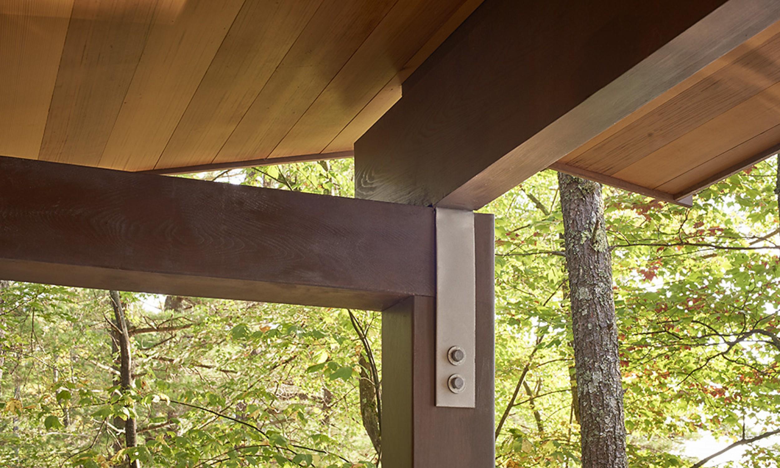 Timber detail, cedar beams, cedar ceiling, Maine Architect, Simpson hanger