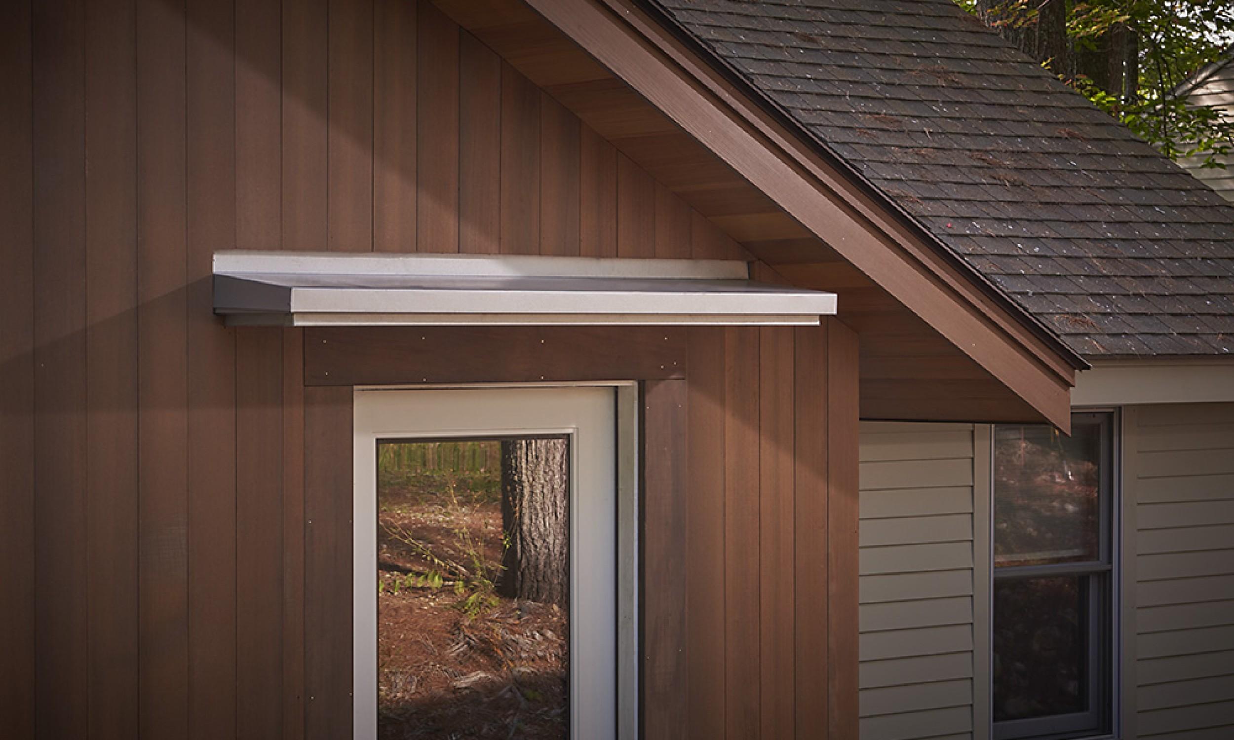 Canopy Roof, galvalume metal, Maine Architect, cedar siding,  Sherwin Williams stain