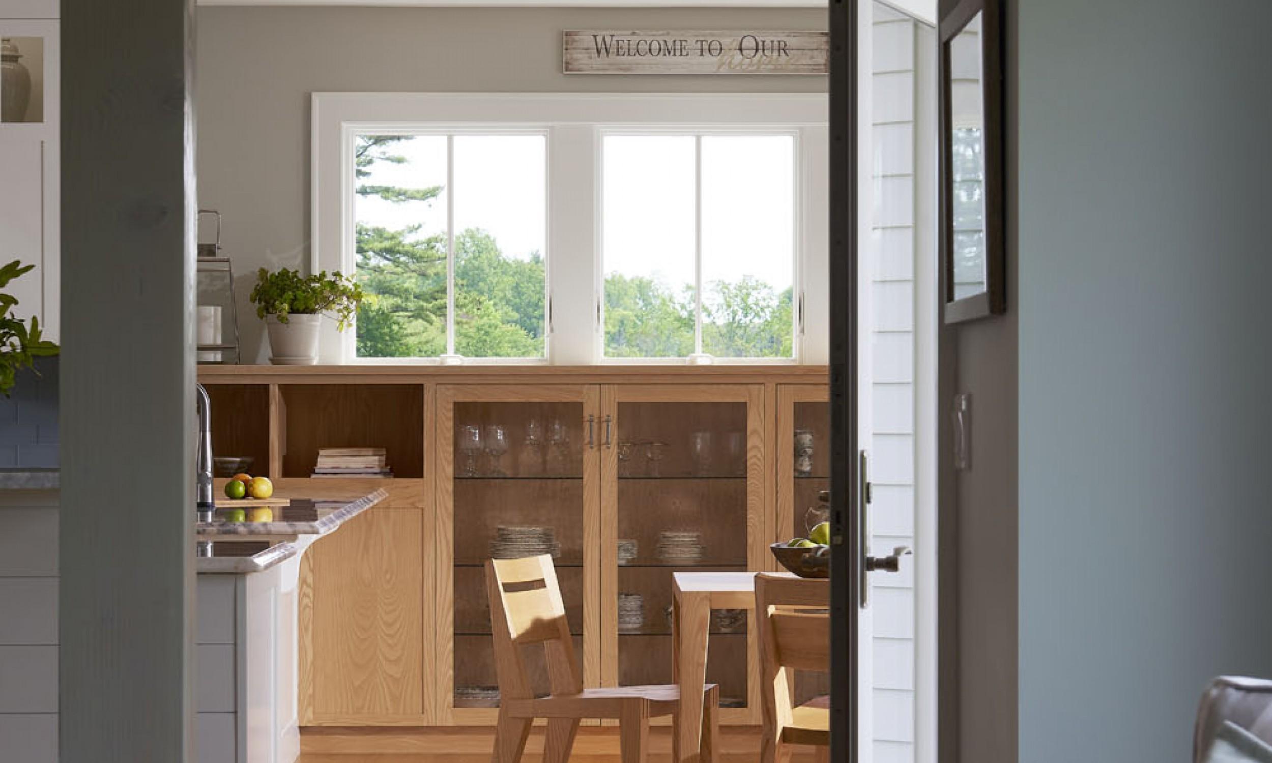 Dining Room, Tula Table, Angela Adams, Ash cabinets, Maine Architect