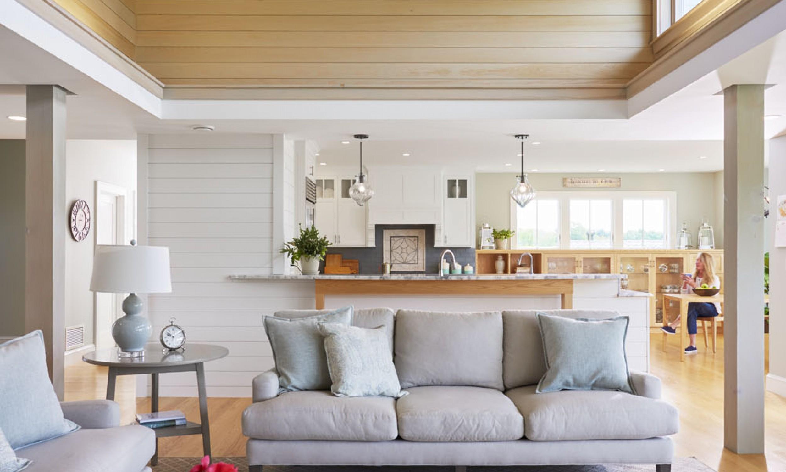 Living Room, wood ceiling, high windows, Maine Architect