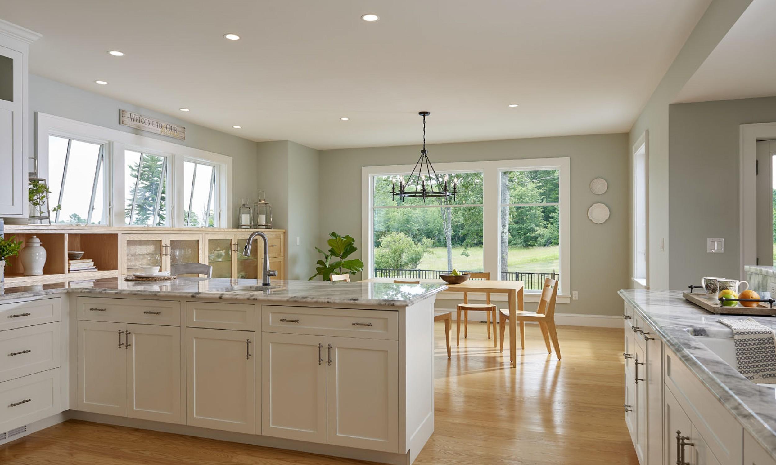 Kitchen, Tula table, Angela Adams, natural light, open kitchen, ash flooring, Maine Architect
