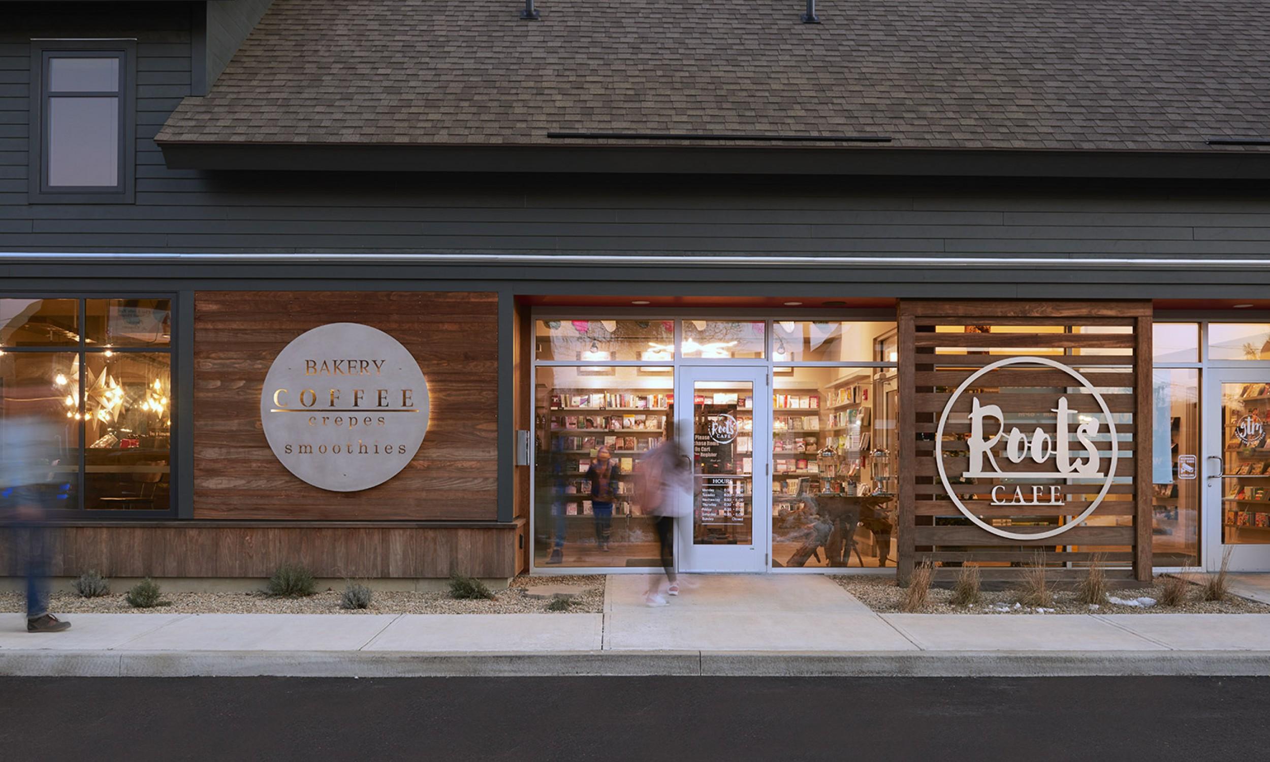 Kebony wood, Wood Screen, Restaurant design, Maine Architect, Coffee Shop, Storefront windows