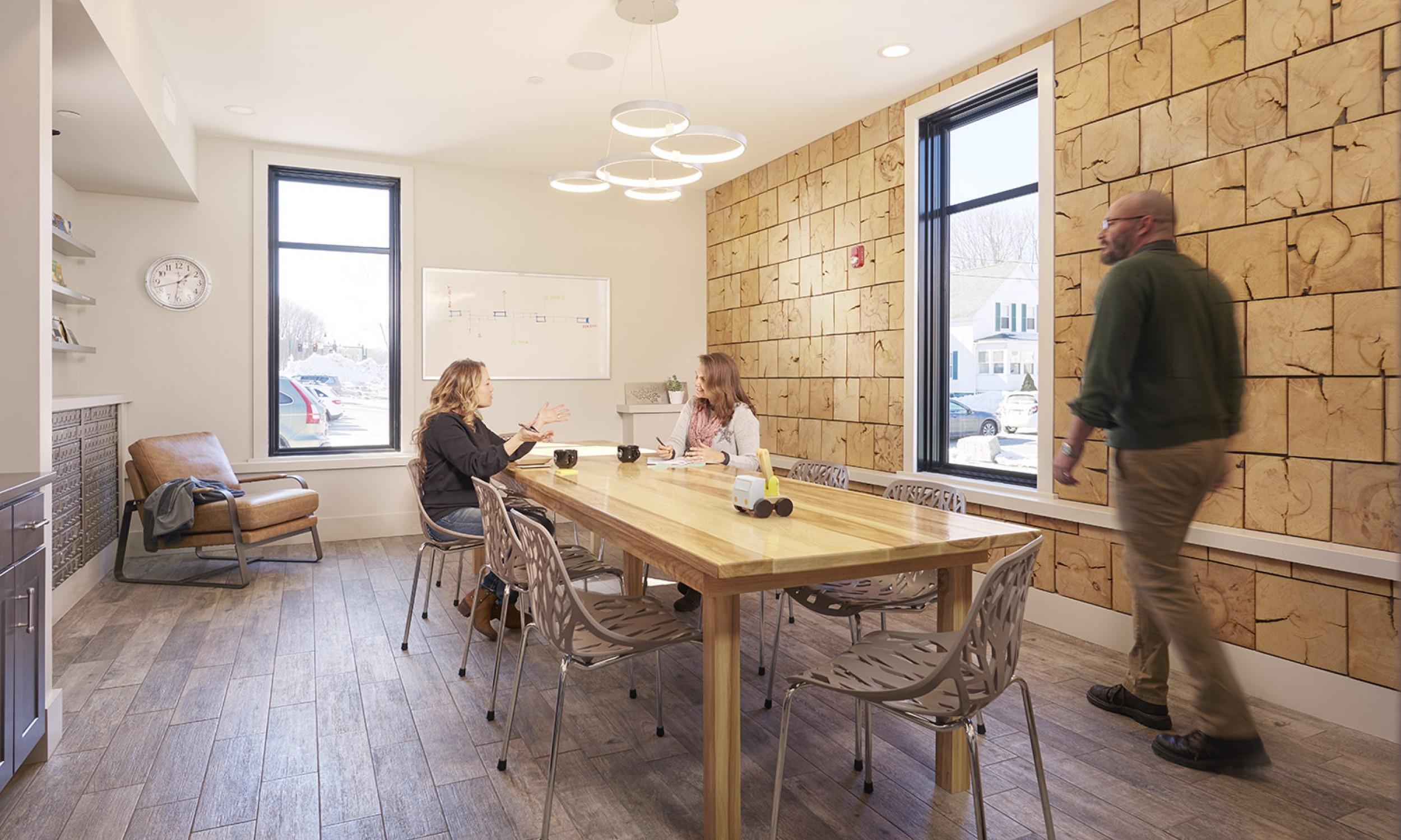 Meeting Room, maine architect, interior design, wood wall finish