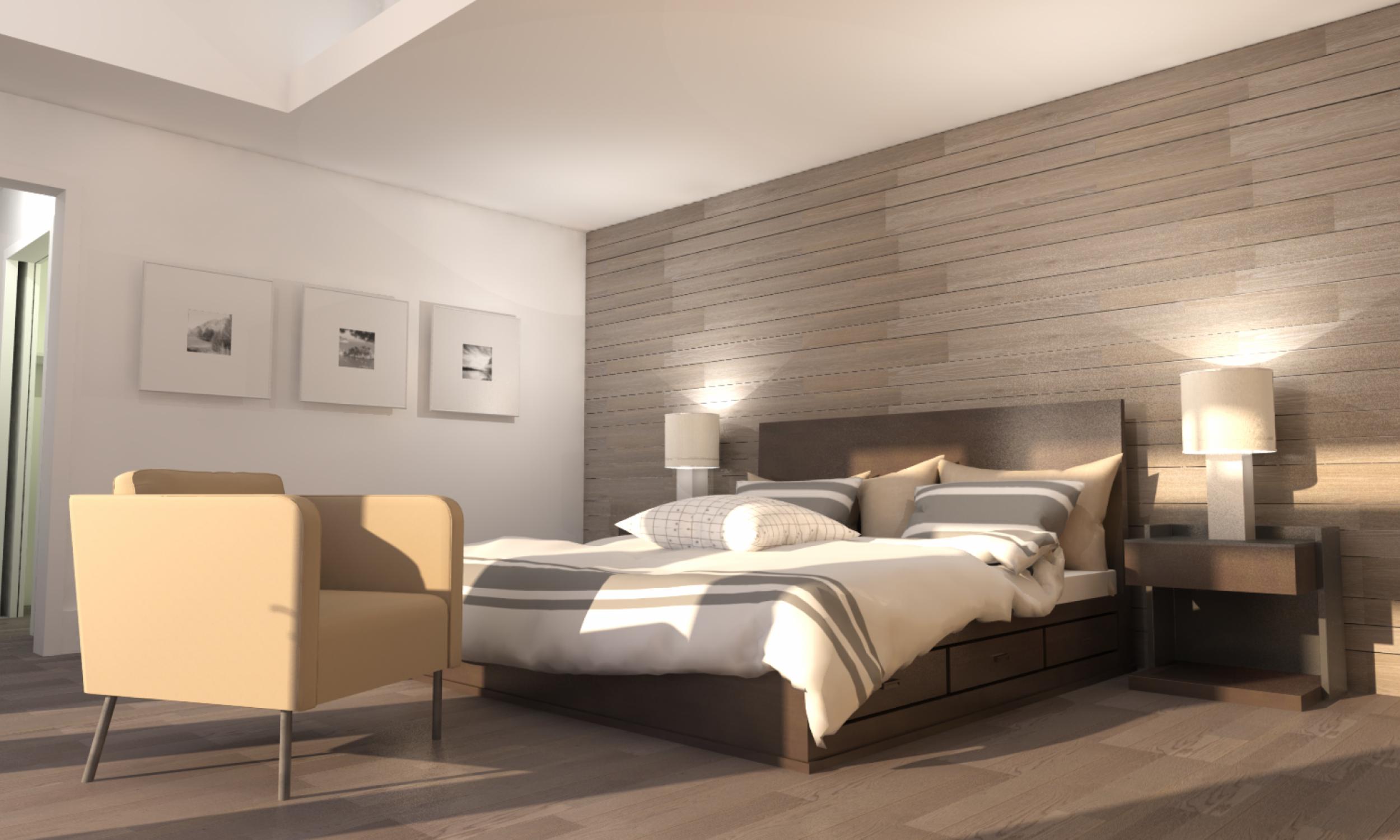 Living room rendering, Maine Architect