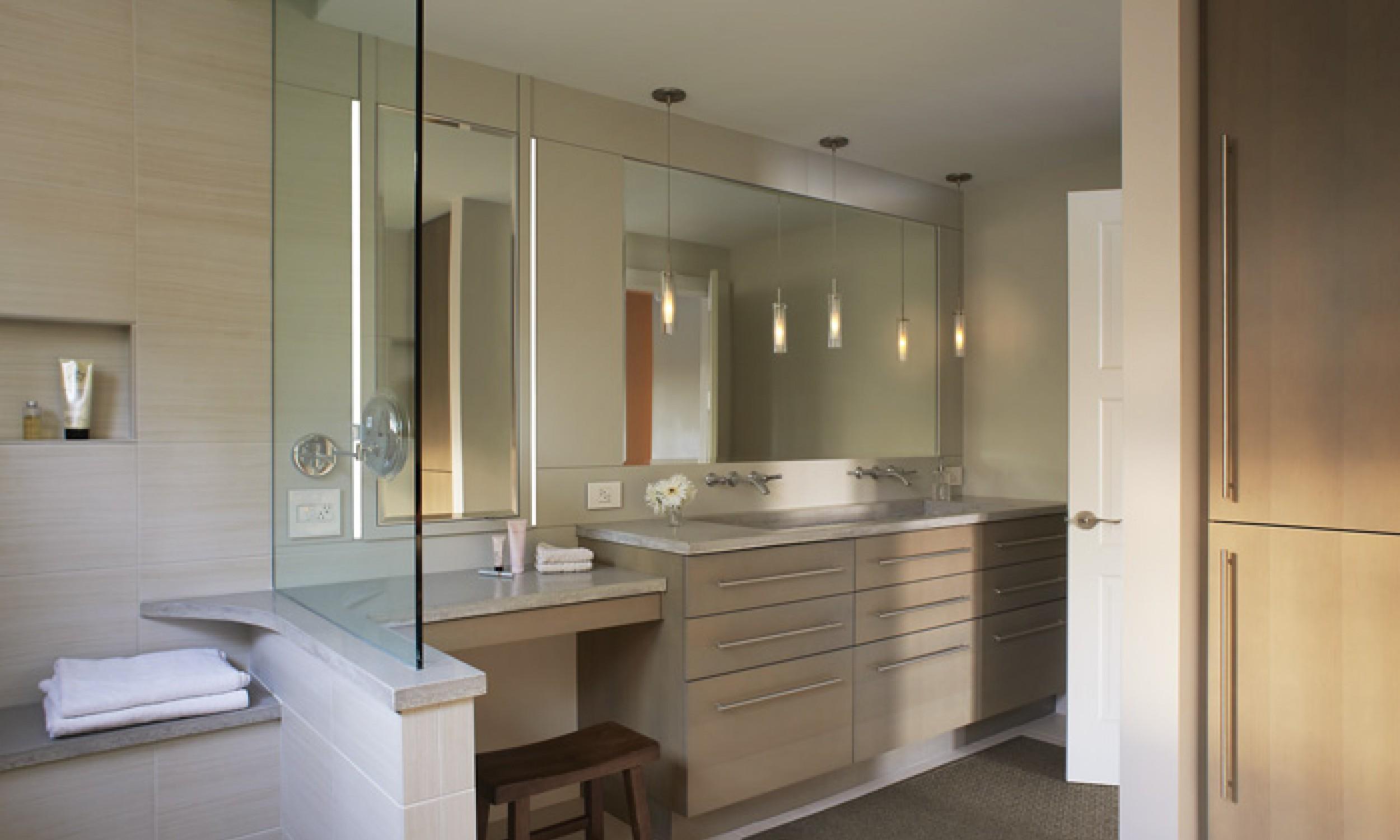 custom millwork, Glass wall, concrete counters, pendant lighting, Maine Architect, LED lighting