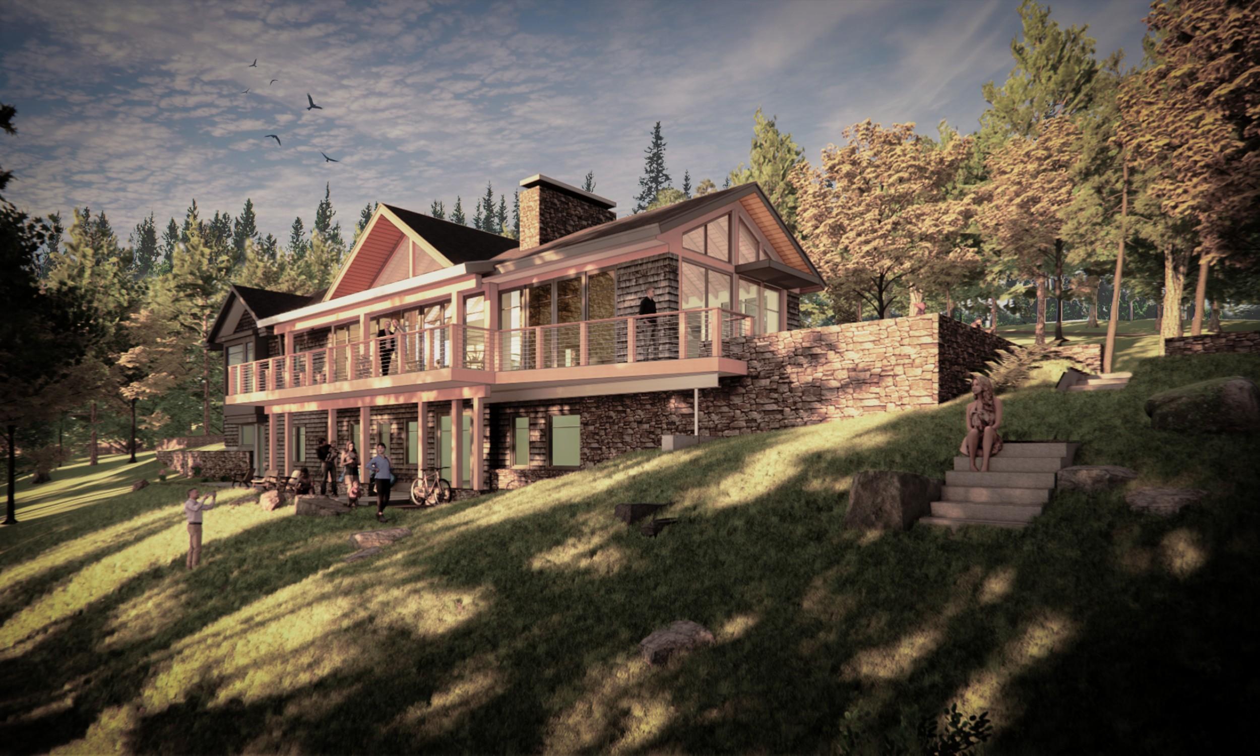 Waterfront home, Maine Architect, Lake living, Sliding Doors, cedar shingles