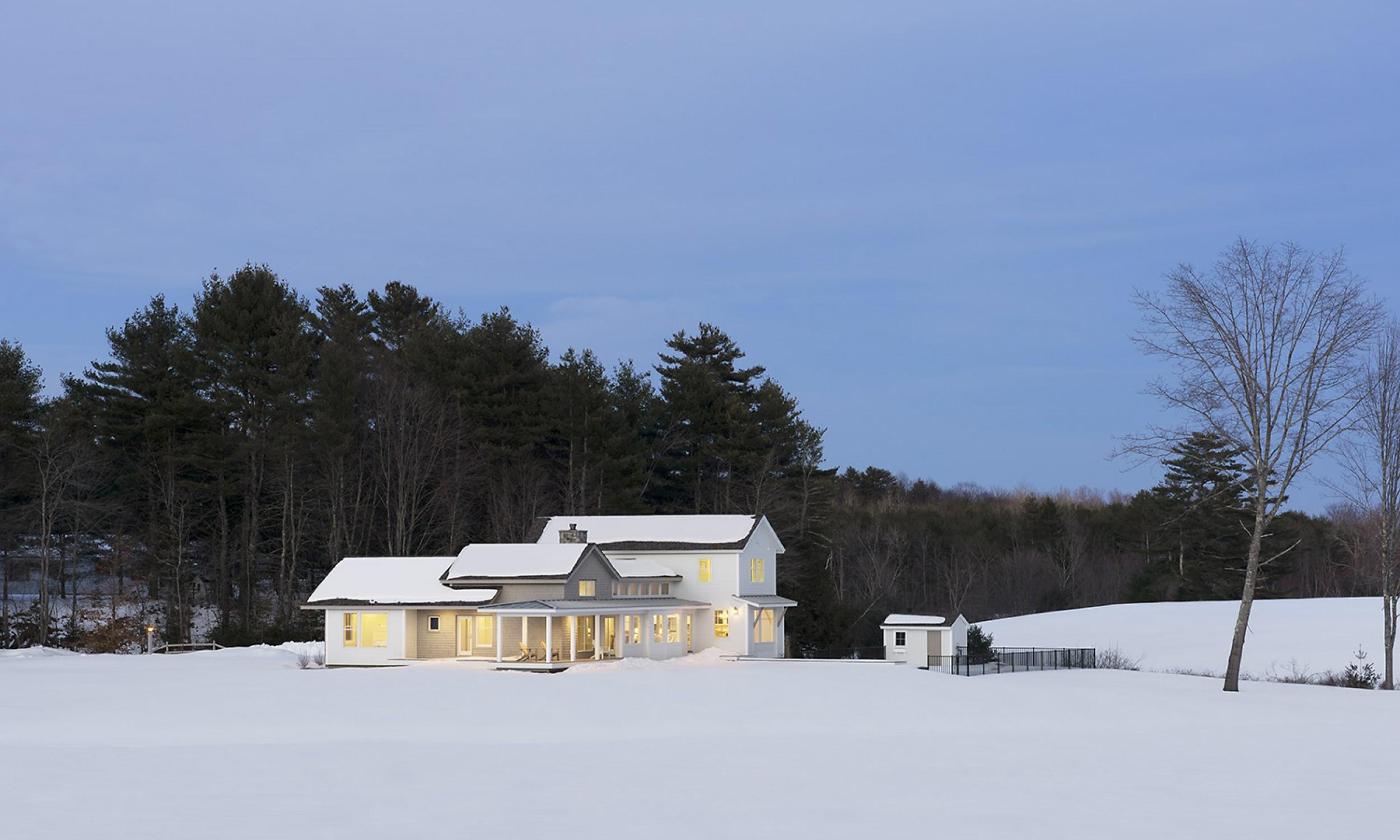 Modern Farmhouse, cedar shingles, white siding, clapboards, Maine Architect, winter scene