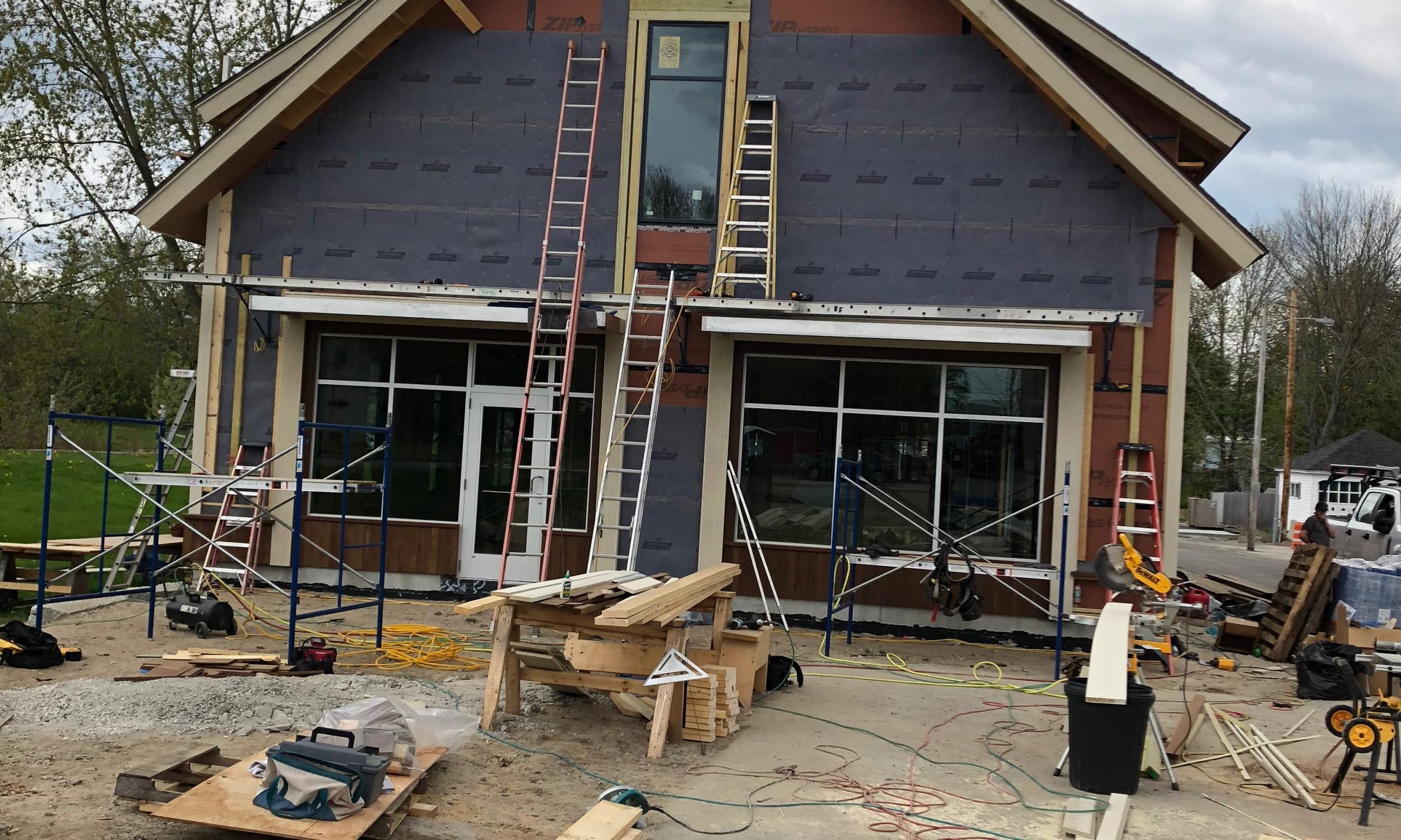 Construction Photo, Maine Architect, rain screen, modern barn