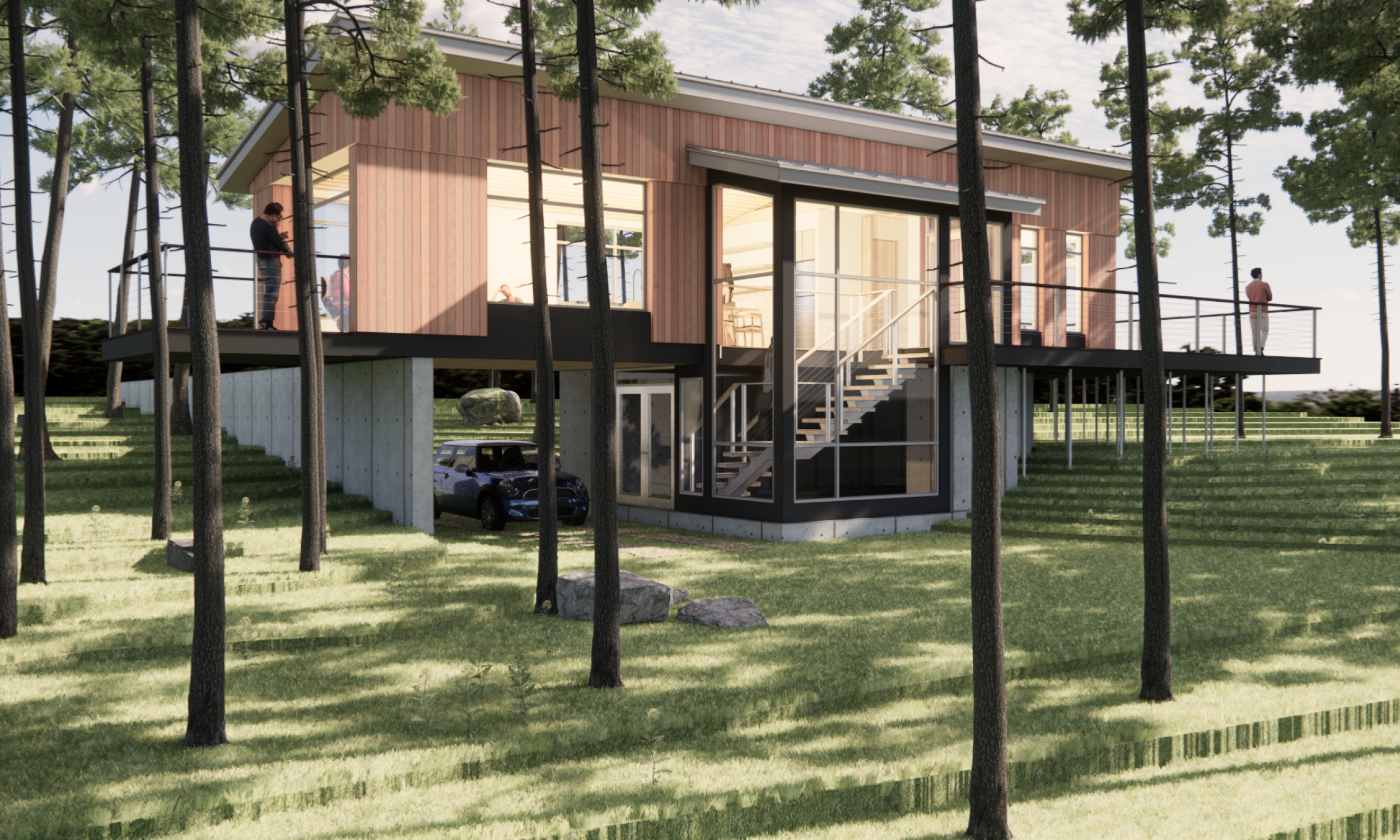 prefabricated design, raised above the ground, Maine architecture