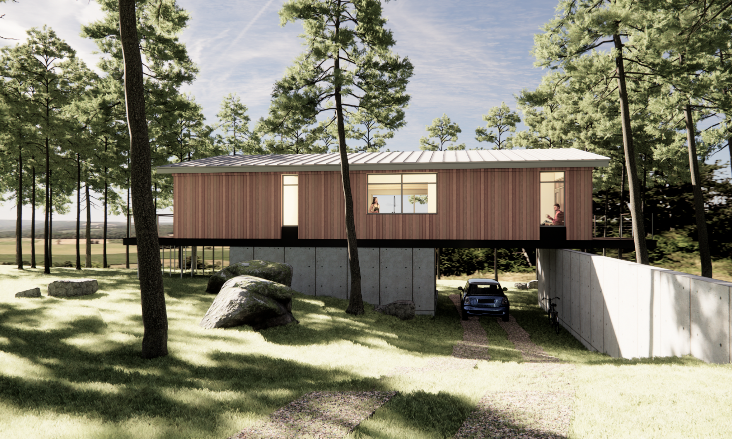 prefabricated design, cedar siding, carport, raised above the ground, Maine architect