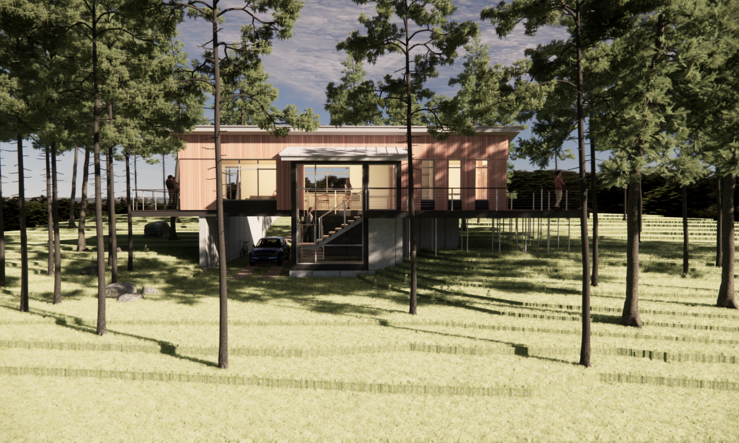 prefabricated camp, live-work space, maine architecture,