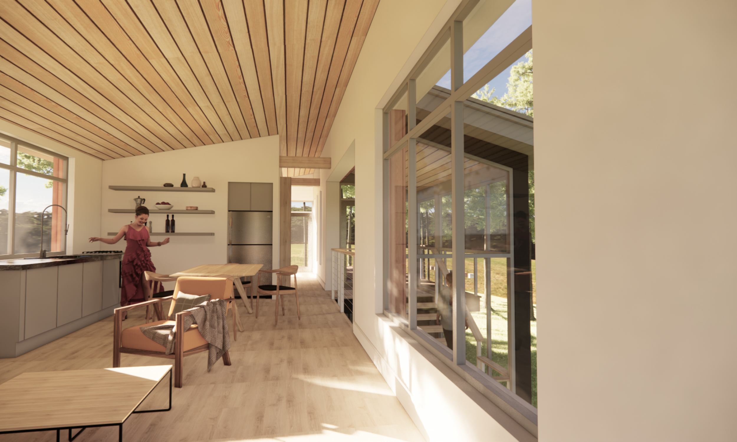 Interior space, open plan, wood ceiling, maine architecture