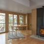 Gas stove, maple flooring, lake view, Maine Architect, Concrete hearth