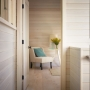 Bedroom, nickel gap pine, Benjamin Moore stain, Maine Architect