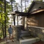 Side Entrance, Red cedar, entry roof, Maine Architect, Stone steps, Lake front, Mousam lake