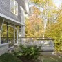 Lake-side deck, white cedar rail, cable railing, Maine Architect, waterfront home