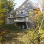 Lake elevation, East elevation, Waterfront home, Maine Architect, Cable railing, cedar siding