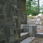 Stone wall, granite steps, Maine Architect